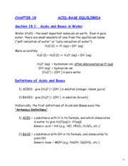 Chapter 18 Acids and Bases Part 1