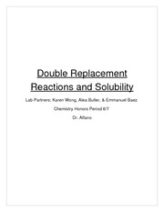 Double Replacement Reactions and Solubility Lab