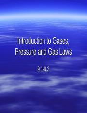 Intro to Gases, Pressure and Gas Laws