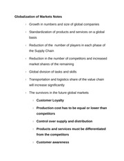 Globalization of Markets Notes