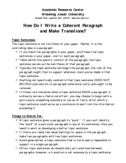 Writing developmental paragraphs