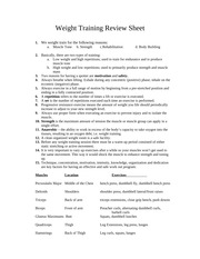 Weight Training Review Sheet