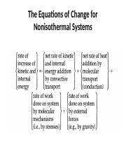 The Equations of Change for nonisothermal systems