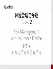 Risk Management and Insurance- topic-2-2015