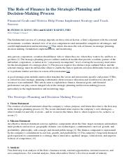 The Role of Finance in the Strategic.pdf