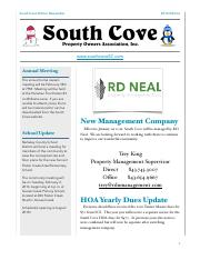 SouthCove Newsletter 1Q 2016