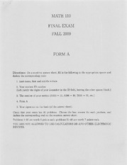 Fall 2009 Exam Help Review