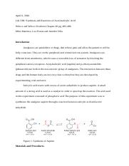 Lab 8- Synthesis and reaction of Aspirin.docx
