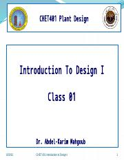 Class 01  Introduction To Design I
