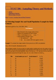 4.2 Selecting Sample Size and Small Population Example for Ratio Estimate   STAT 506 - Sampling Th