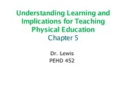 Understanding Learning and Implications for Teaching Physical Education Chapter 5