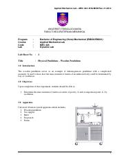 Lab sheet 2 - Physical Pendulum Experiment -Student