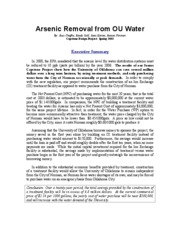 ARSENIC REMOVAL FROM OU WATER-EXECUTIVE SUMMARY