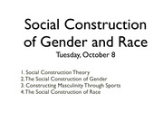 social constructionism and gender Gender is socially constructed and a result of sociocultural influences throughout  an individual's development (schneider, gruman & coutts,.