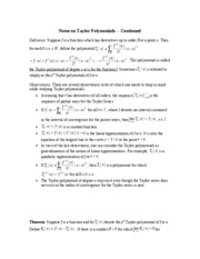 Notes on Taylor Polynomials