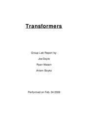 Transformers lab report