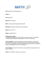 Math 222 Course Outline