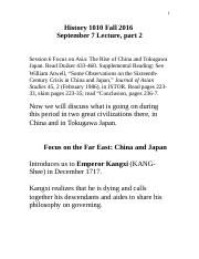 History 1010 Fall 2016 Sep 7 Lecture Chapter 17