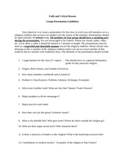 Theology-Group Presentation Guidelines