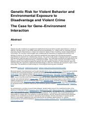 Genetic Risk for Violent Behavior and Environmental Exposure to Disadvantage and Violent Crime.docx