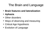 The brain and language Lecture slides