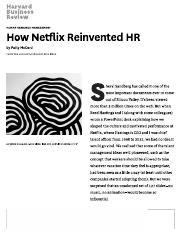 How Netflix Reinvented HR
