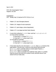 PHYS 381 Assignment 1 due Sept 22 2014
