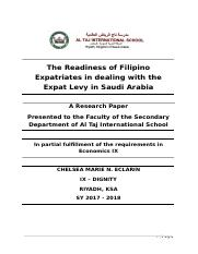 The Readiness of Filipino Expatriates in dealing with the Expat Levy in Saudi Arabia.docx