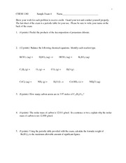 Sample Test 4 on General Chemistry 1