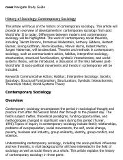 History of Sociology_ Contemporary Sociology Research Paper Starter - eNotes