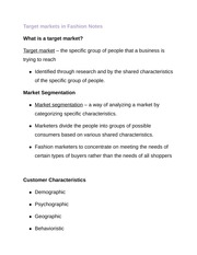 Target markets in Fashion Notes
