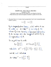 Math 410 Midterm 3 and solutions