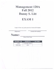 Mgmt 120A Exam 1 Fall 2012