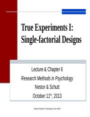 Lecture 6True Experiments Single Factorial Designs