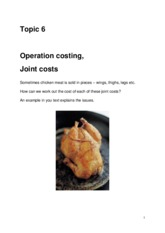 Topic 6 Operation costing, Joint Costs