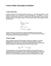 Lecture 4 Notes Electrostatic Correlations