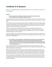 Unit 1 - Coordinate implementation of customer service strategies.docx