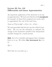 Lecture 30- Differentials and Linear Approximation