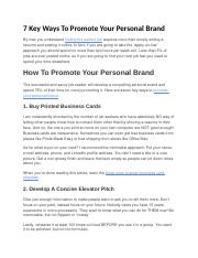 7 Key Ways To Promote Your Personal Brand.docx