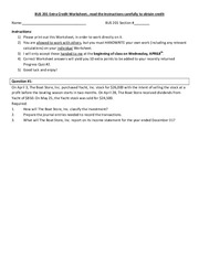 Extra Credit Worksheet
