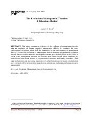 [23074450 - Nang Yan Business Journal] The Evolution of Management Theories_ A Literature Review.pdf