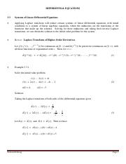 3.3 Systems of Linear Differential Equations