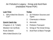 Lecture 13 - Air Pollution's Legacy - Smog and Acid Rain