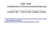 L20 - Intro to the Carbon Cycle