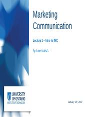 Marketing Communication (Lecture 1)