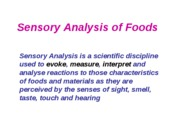 2009 Sensory Analysis of Foods