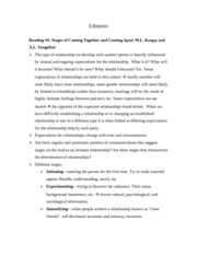 cmst: Reading #6: Stages of Coming Together and Coming Apart M.L. Knapp and A.L. Vangelisti