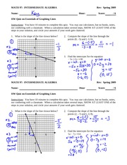 Quiz solution on Basics of Graphing Linear Equations