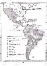 Latin America in 1830 Map