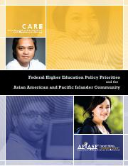 AAPIs Federal Higher Education Policy Priorities CARE 2010